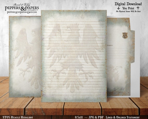 Printable Writing Paper, Printable Stationery Set, For Scrapbooking, Journaling, 8.5x11 letter writing, Medieval, Heraldry, ST05 Eagle