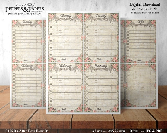 Weekly To Do List, Daily Task Lists, Printable Planner Cards, Journal Note Cards, A2 size, 8.5x11 printable, CA029 Old Rose
