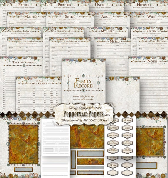 Family Tree Workbook - YOU PRINT 8.5x11 - 29 pages; ancestry, printable, records, journaling, Family Organizer - Gears and Cogs