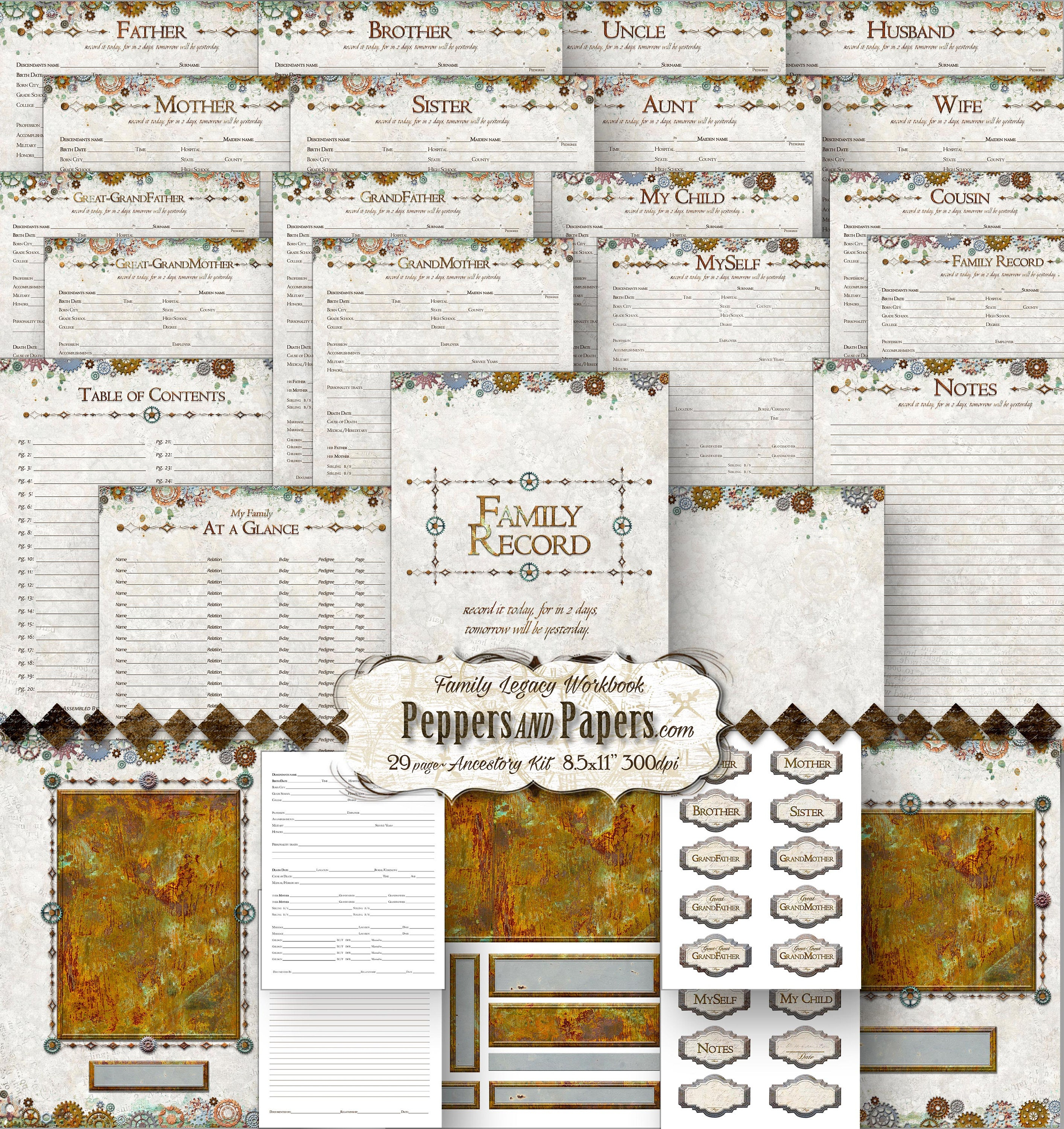 Family Tree Workbook 85x11 29 Pages Ancestry Printable