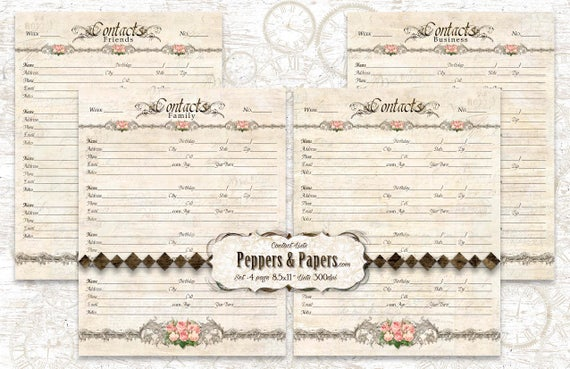 Family Planner - Address Book - YOU PRINT 8.5x11 - 26 pages; ancestry, printable, records, journaling, Family Organizer - Contacts