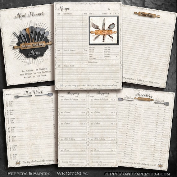 Meal Planner - YOU PRINT - Printable 20 pages - 8.5x11; Weekly-Daily, Kitchen and Menu planner for Life Management and Organization - WK127