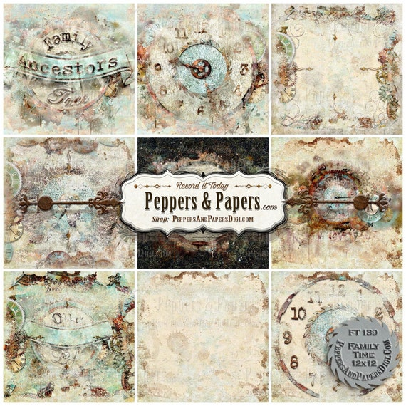 mixed media art\u2013 FT141 Family Time 10 textured digital backgrounds for scrapbooking distressed watercolor Clock backgrounds 12x12