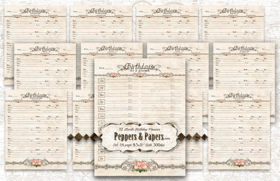 Family Planner - YOU PRINT - 8.5x11 - 26 pages; ancestry, printable, scrapbooking, records, journaling, Family Organizer - Birthday