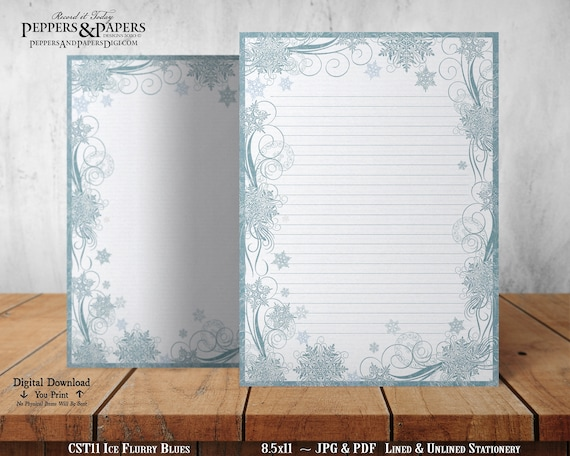 Ice Flurry Blues - 8.5x11 Digital Printable Stationery   Vintage, Snowflake   Writing Paper   Note Paper   Christmas   Winter - CST11
