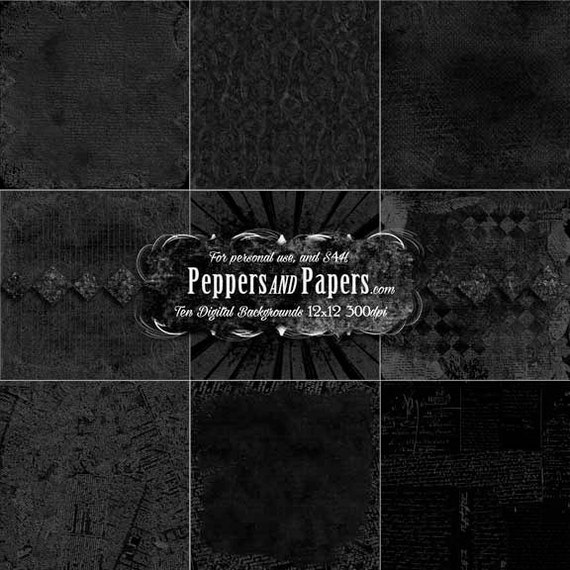 Deep textured black overlay backgrounds, 10 rich texture papers for blending, clipping, and dimension – Black Texture pk 2