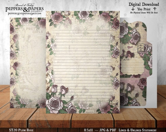 Stationery, 8.5x11 Writing Paper, YOU PRINT, Lined and Unlined, Decorative Note Paper, for scrapbooking, Plum Rose ST20