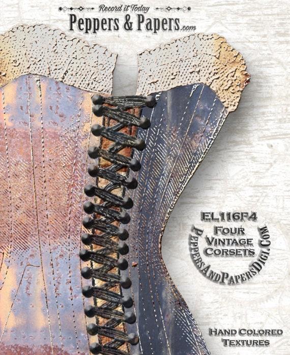 Vintage Corsets - Printable Clip Art - Hand Painted Texture - scrapbooking, card making, ephemera - 4 sizes- 8.5x11 PNG and PDF - EL116P4