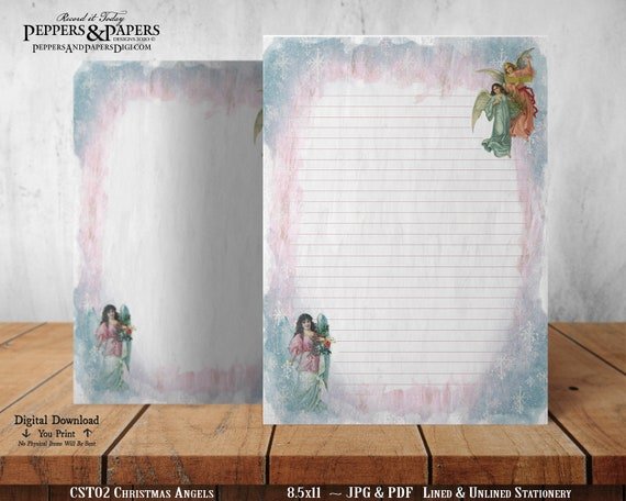 Christmas Printable Stationery for Annual Holiday Letter Writing, Vintage Angels Watching Over Us, Christmas Angels, CST02