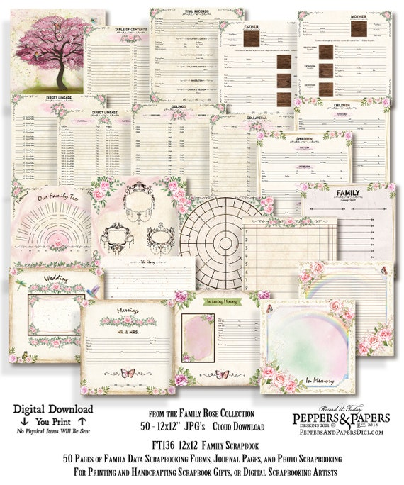 Family Tree Scrapbook, YOU PRINT, Genealogy Forms, Ancestry Gift for Mom, 50 page Ancestry Scrapbook, 12x12 Family Organizer, FT136