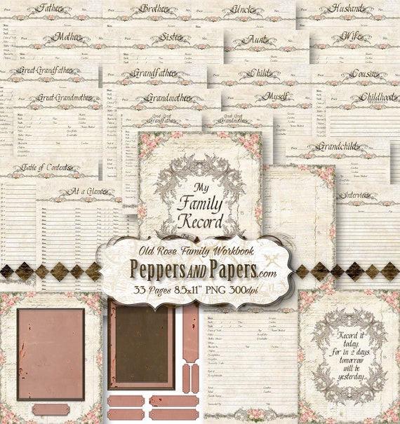 Family Tree Workbook - YOU PRINT - 8.5x11 - 33 pages; printable, scrapbooking, records, journaling, Family Organizer - Old Rose Family