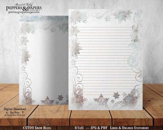 Christmas Printable Stationery for Annual Holiday Letter Writing, Vintage Snowflakes in blizzard storm, Snow Flurries in Winter, CST09