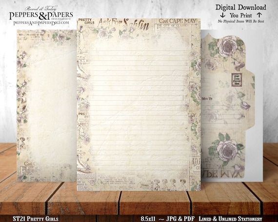 Stationery, 8.5x11 Writing Paper, YOU PRINT, Lined and Unlined, Note Paper, Decorative Paper, for scrapbooking, Pretty Girls - ST21