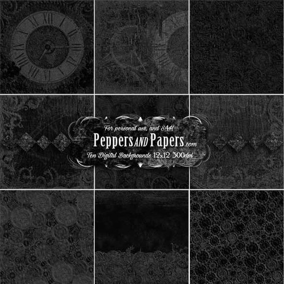 Black 10 Deep Embossed clock backgrounds, 12x12 rich textured papers for blending, clipping, and dimension – Black Texture pk 3