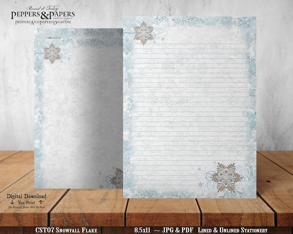 Printable Writing Paper, Printable Stationery Set, For Scrapbooking, Journaling, letter writing, 8.5x11 Lined & Unlined, ST07 Snowfall Flake
