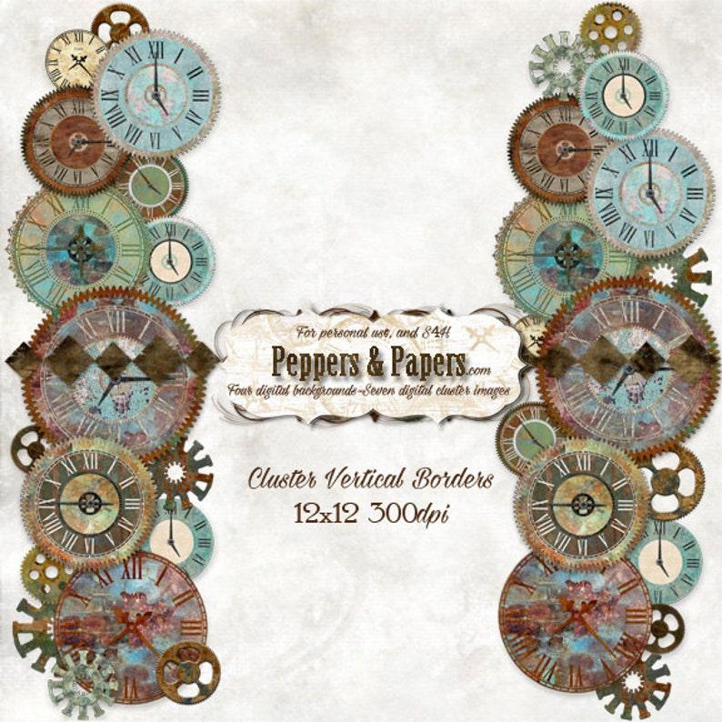 printable \u2013 Clock Clusters Elements Steampunk textured digital clock borders for digital scrapbooking blue green rust
