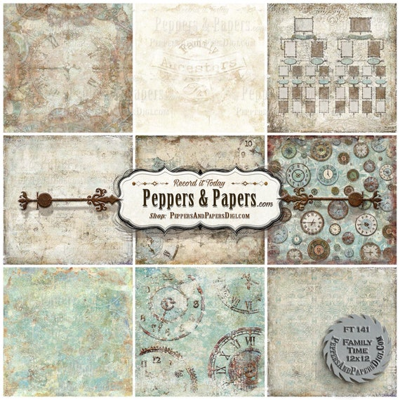 Clock backgrounds 12x12  - distressed watercolor, 10 textured digital backgrounds for scrapbooking, mixed media art– FT141 Family Time