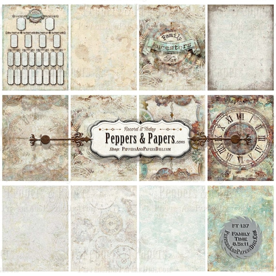 Family Time Clock backgrounds YOU PRINT instant download, 8.5x11 - distressed watercolor, 12 textured digital backgrounds, FT137 Family Time