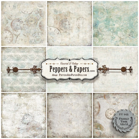 12x12 backgrounds - distressed watercolor, 10 textured digital backgrounds for scrapbooking, mixed media art, printable – FT142 Family Time