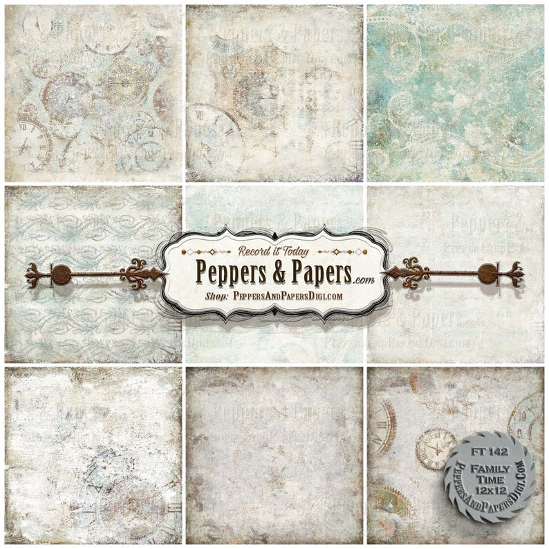 10 textured digital backgrounds for scrapbooking printable \u2013 FT142 Family Time distressed watercolor mixed media art 12x12 backgrounds