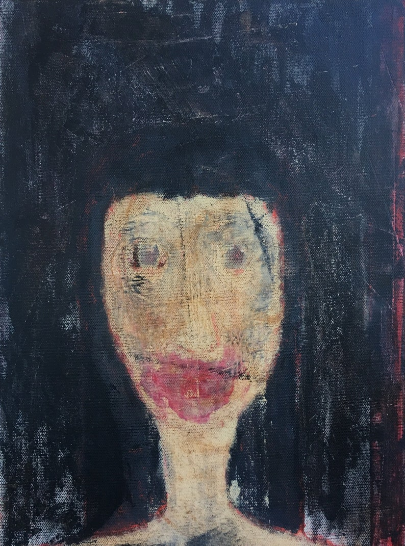 Portrait Painting Dark And Horror Artwork Weird Creepy Art Outsider Art Gift Idea Original Painting Abstract Face