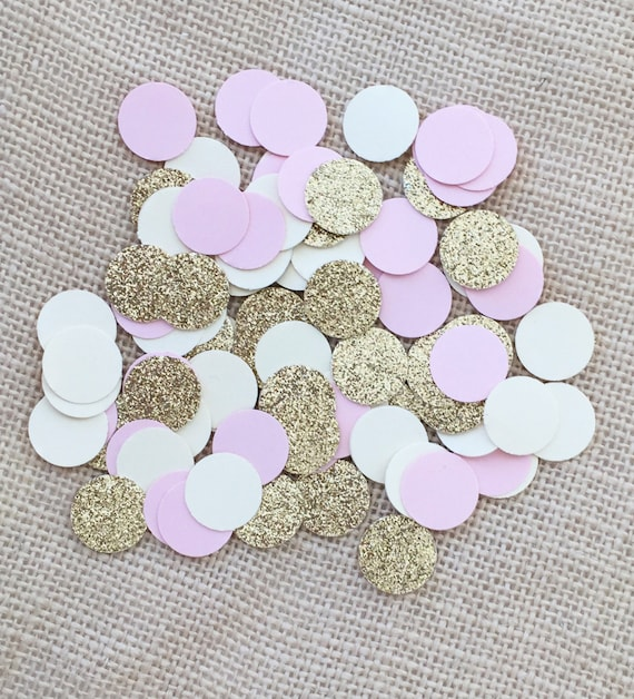 Pink Gold Glitter Cream Circle Confetti Wedding Bridal  47867d15e1db