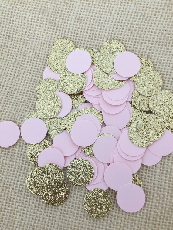 Pink Gold Glitter Circle Confetti Wedding Bridal Shower  a3f198674582