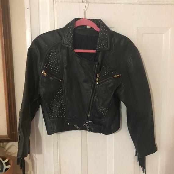 Fringe leather motto jacket