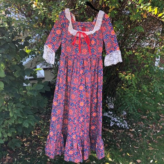 Vintage patchwork floral Gunne Sax style dress - image 1