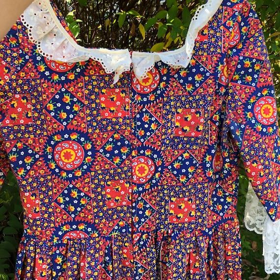 Vintage patchwork floral Gunne Sax style dress - image 2
