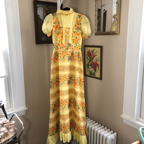 Handmade Gunne Sax Style floral dress - image 1