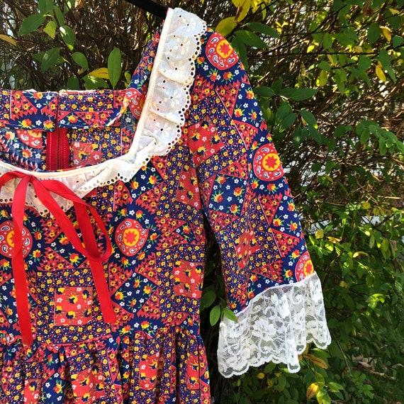 Vintage patchwork floral Gunne Sax style dress - image 4