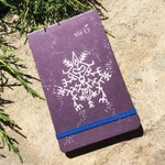 Custom Sketchbook Design Purple, Lilac Pocket Size Small Plain Page Notebook, Journal, Abstract Silver Ornament Artwork