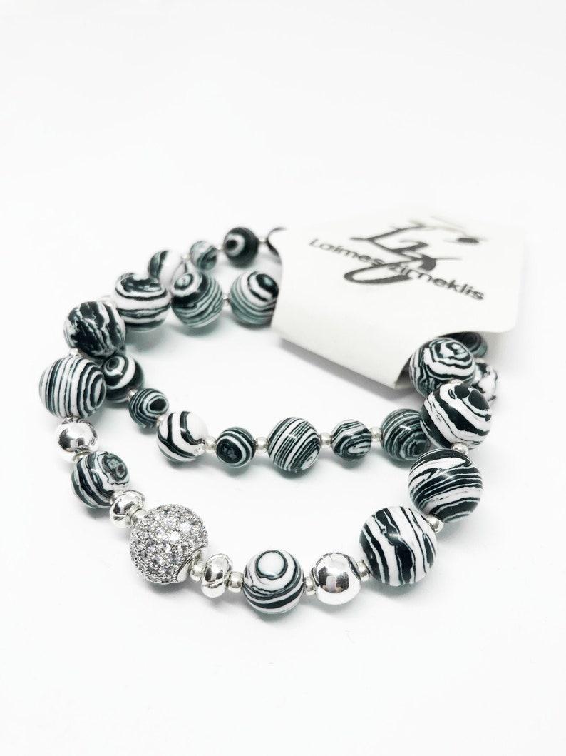 Set of 2 Black White Malahite Bracelet with silver and zircon image 0