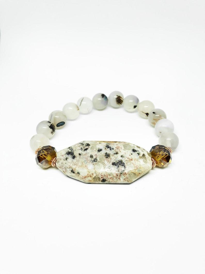 Sardonyx Stone Bracelet with golden rondelle glass bead accent image 0