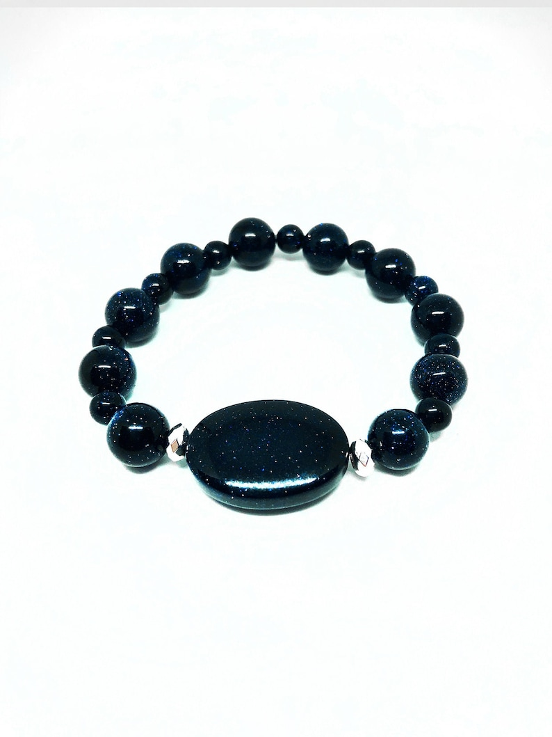Real Blue Sandstone Bracelet with silver accent Bead image 0