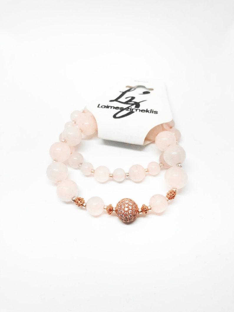 Set of 2 Rose Quartz Bracelet with Rose Gold and zircon image 0