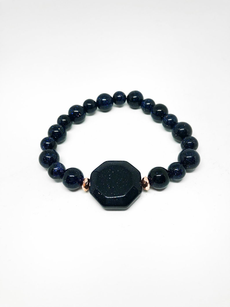 Real Blue Sandstone Bracelet with Rose Gold accent Bead image 0
