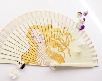 HAND FAN Birth of Venus BOTTICELLI / Hand painted Fan /
