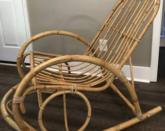 Vintage Rattan/Bamboo Rocking Chair Boho Retro Style LOCAL PICKUP/SHIPPED
