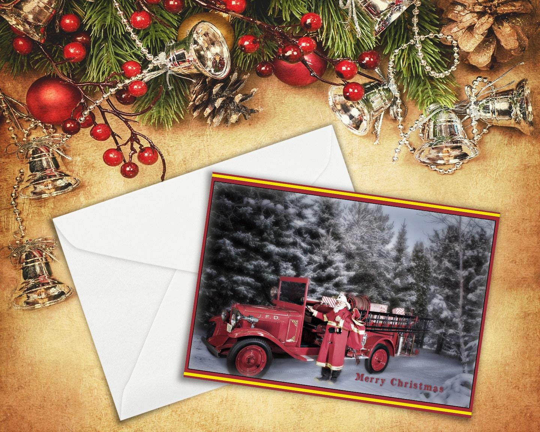 Vintage Firefighter Santa Card Fire Engine 5x7 | Etsy