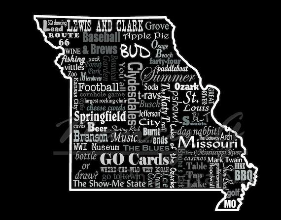 Casinos In Missouri Map.Missouri Slogans Word Art Typography Map Missouri Print Etsy