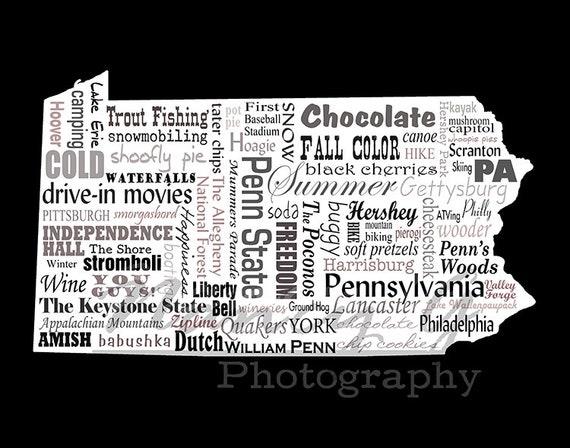 Pennsylvania Slogans, Word Art, Typography, Map, Pennsylvania Print, PA,  Fine Art Print, Tourism Gift, Travel, Wall Art, Gift, PA State map