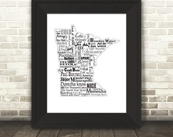 Minnesota Slogans, Word Art, Typography, Map, Minnesota, Minnesota Print, MN, Fine Art Print, Tourism Gift, Travel, Wall Art, Gift, Print