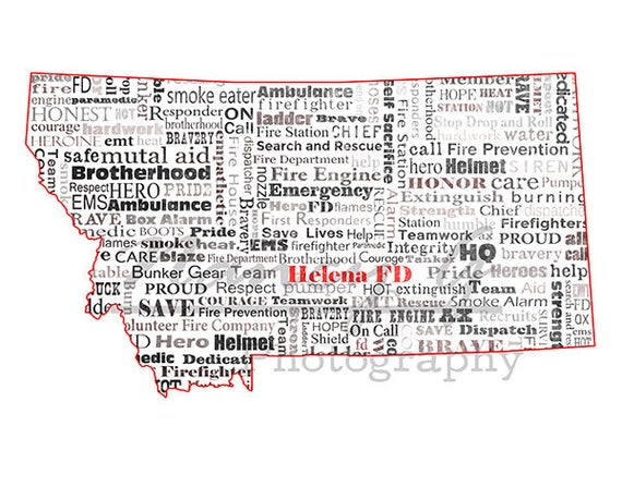 Helena Fire Department Word Art Typography Mt Map Etsy