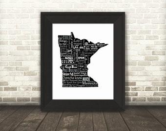 Minnesota Slogans, Word Art, Typography, Map, Minnesota, Minnesota Print, MN, Fine Art Print, Tourism Gift, Travel, Wall Art, Gift, Reversed