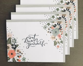 """Motivational Greeting Cards (Blank) - 5""""x7"""" - Outdream Yourself - Set of 4"""