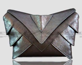 Evening leather bag , Luxury clutch , Metalic leather clutch , Small handbag , Womens special clutch , Evening bag , New Year  bag