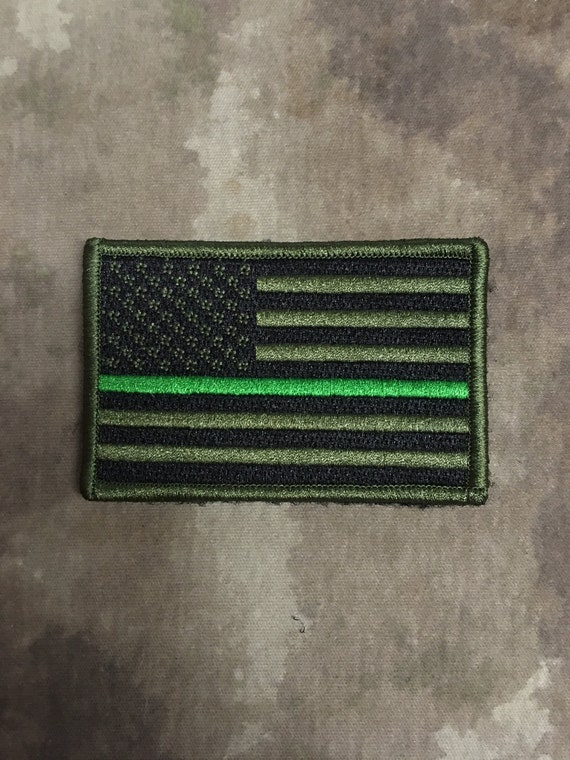 Thin GREEN Line American Flag Patch Federal Agents Game Wardens Border Patrol