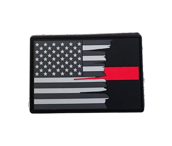 Subdued Tattered American Flag Thin Red Line PVC Patch for RN/'s